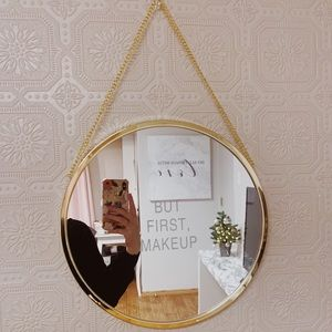 Other - But First, Makeup Gold Hanging Circle Mirror